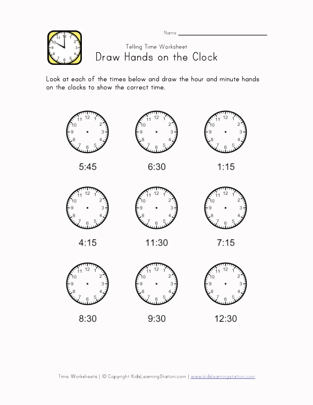 Kids Learn Time Worksheet - 15 Minute Intervals | Kids Learning ...