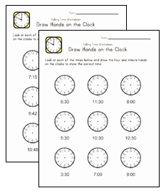 clock worksheets