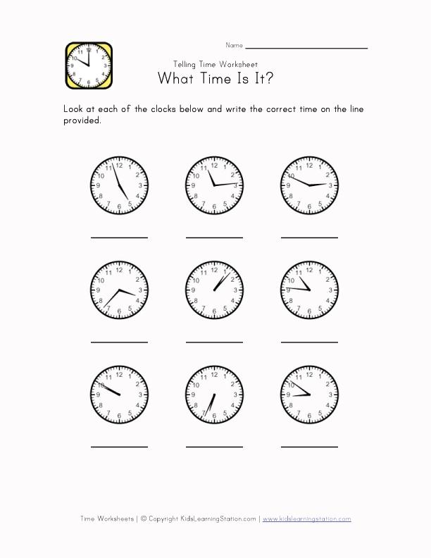 Telling Time Worksheet - 1 Minute Intervals | Kids Learning Station