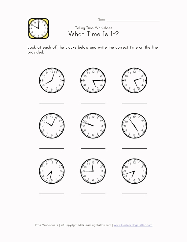 Time Worksheet - 1 Minute Intervals | Kids Learning Station