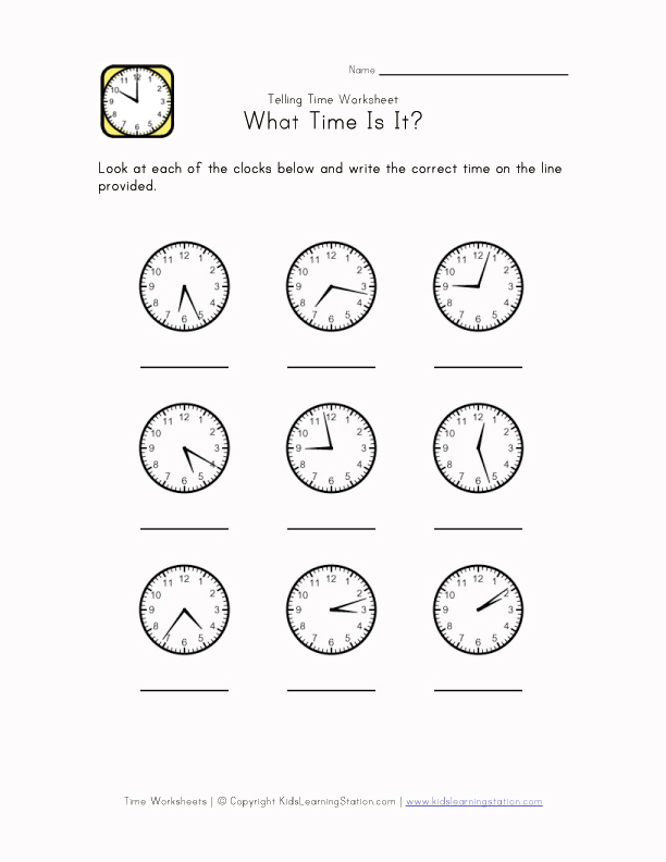Teach Time Worksheet - 1 Minute Intervals | Kids Learning Station