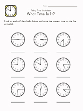 kids learn time page