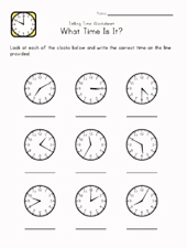 learn time worksheet