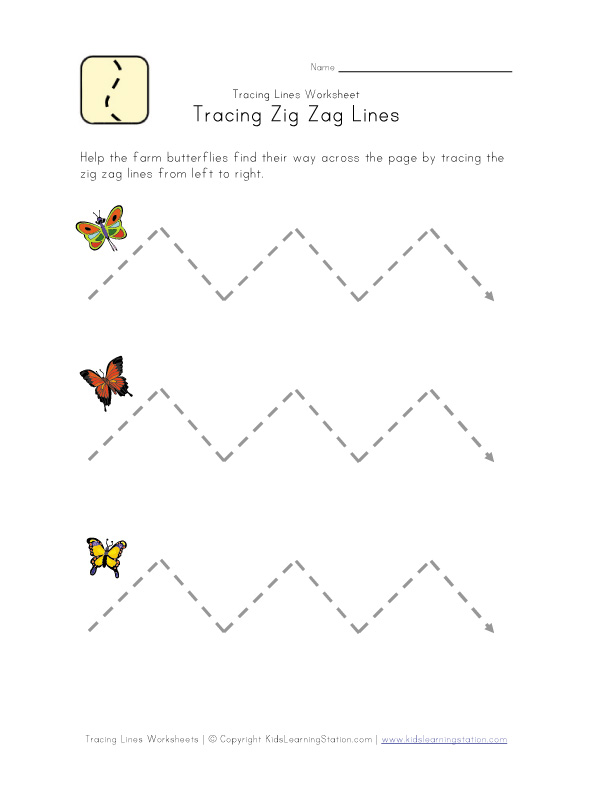 Trace Zig Zag Lines Worksheet | Kids Learning Station