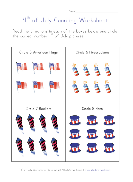 4th of july counting worksheet