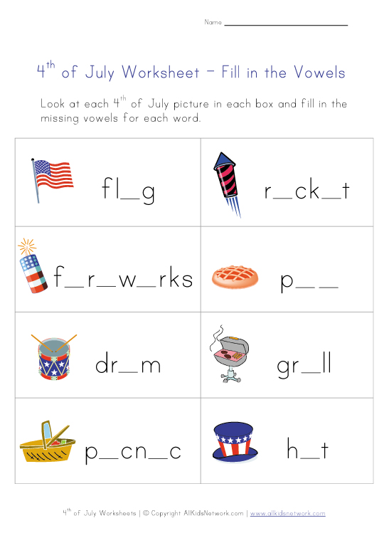 4th of july words worksheet
