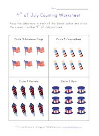 july 4th counting worksheet