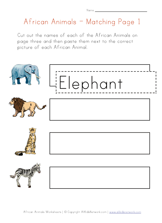 africa animals matching worksheet