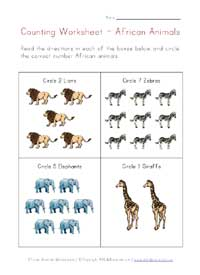 animals counting worksheet