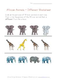 africa animals worksheet - different