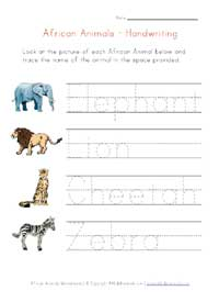 handwriting worksheet - africa animals