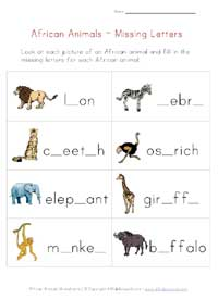 african animals missing letters worksheet