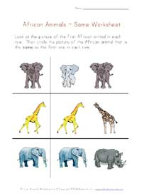 african animals worksheet - same