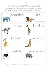 africa animals worksheet - word scramble