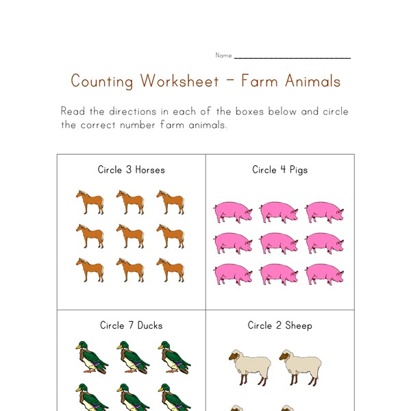 Counting Worksheet Farm Animals
