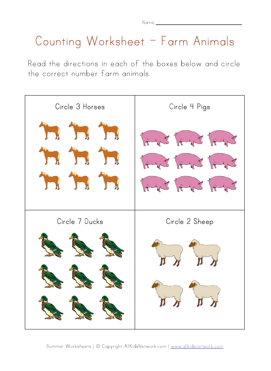math worksheet : farm animals worksheets for kids : Farm Worksheets For Kindergarten