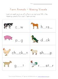 farm animals missing letters worksheet