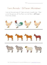 farm animals worksheet - different