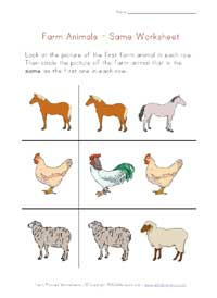 farm animals worksheet - same
