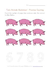 printable farm animals counting to 9