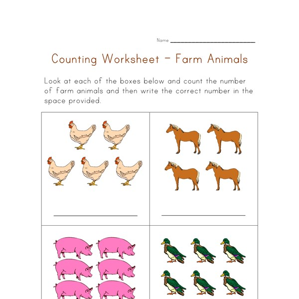Farm Animal Worksheets : Math worksheet counting farm animals all kids network