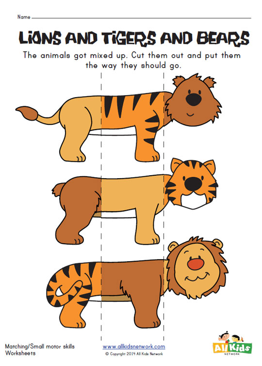 Animal Mix and Match Worksheet - Lion, Tiger and Bear