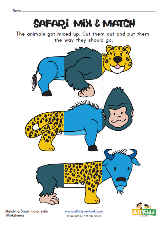 Safari Animals Mix and Match Worksheet