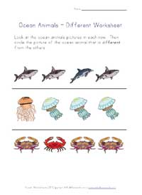 ocean animals worksheet - different