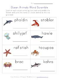 ocean animals worksheet - word scramble
