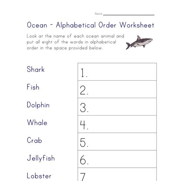 Ocean Animals Worksheet Alphabetical Order All Kids