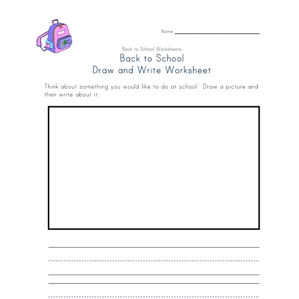 back to school draw and write worksheet all kids network. Black Bedroom Furniture Sets. Home Design Ideas