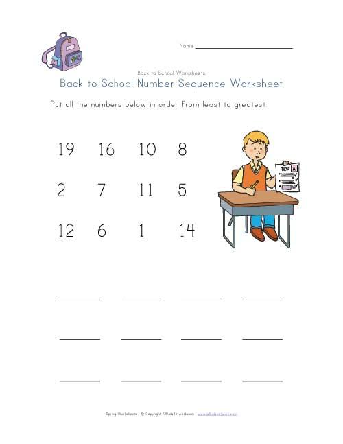 back to school number sequence worksheet. Black Bedroom Furniture Sets. Home Design Ideas