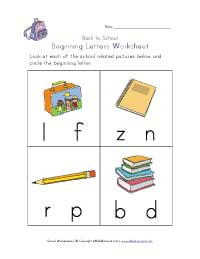 back to school beginning letters worksheet