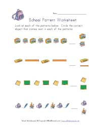 back to school patterns worksheet