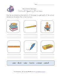 back to school spelling worksheet