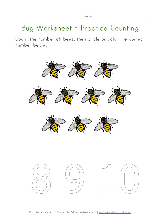 bugs worksheet counting ten