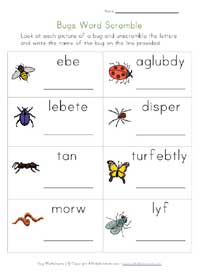 bugs worksheet - word scramble
