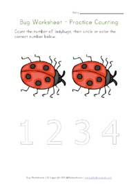printable bugs counting to 2