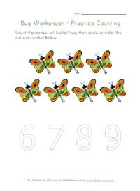 printable bugs counting to 7