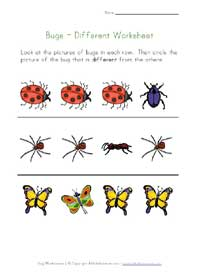 bugs worksheet - different