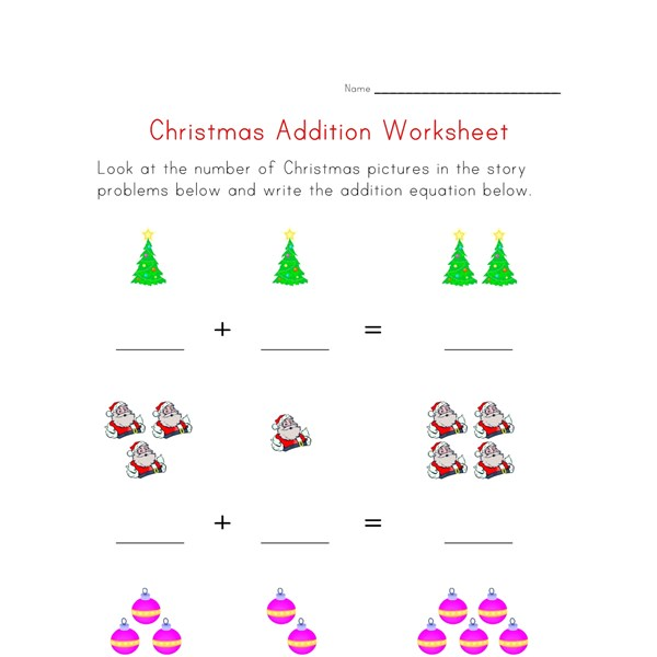 addition worksheet christmas theme all kids network. Black Bedroom Furniture Sets. Home Design Ideas