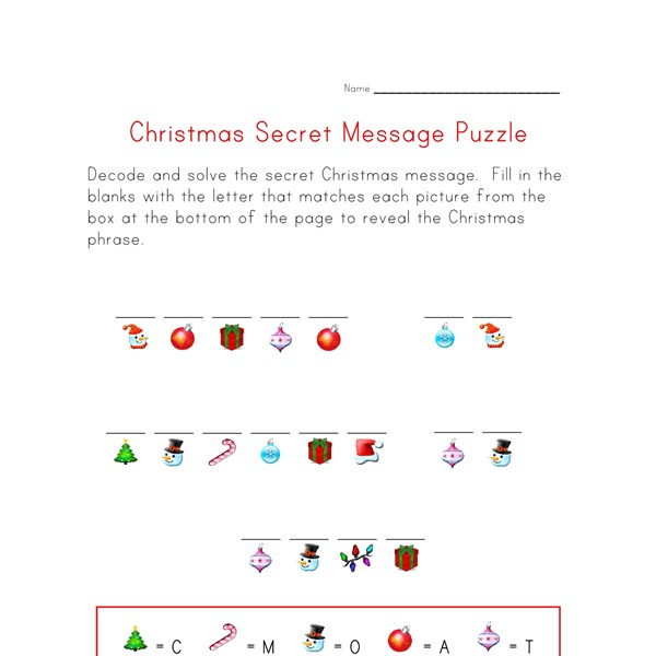 Christmas Puzzle Worksheet - Decode the Christmas Message ...