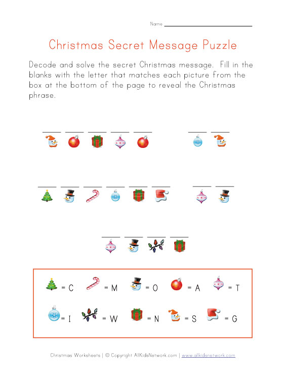Christmas Puzzle Worksheet - Decode the Christmas Message