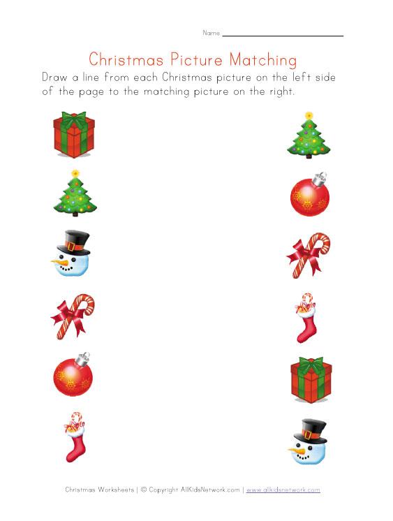 christmas pictures matching worksheet. Black Bedroom Furniture Sets. Home Design Ideas
