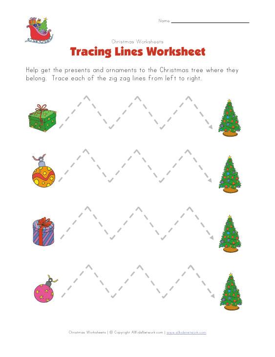 Christmas Tracing Zig Zag Lines Worksheet