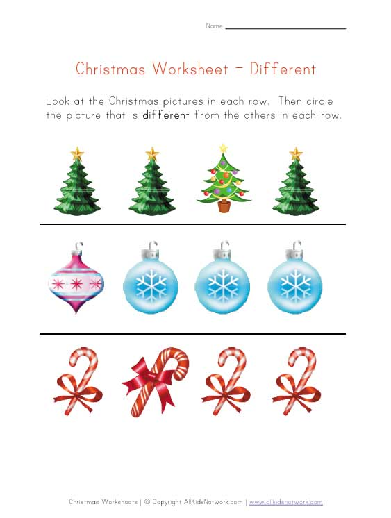 christmas different worksheet