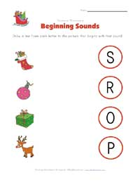 christmas beginning sounds worksheet