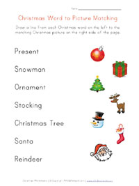 printable christmas word matching