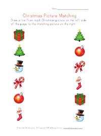 printable christmas picture matching