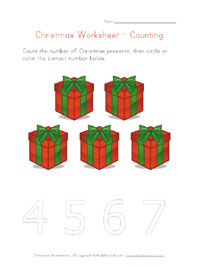 printable christmas counting to 5